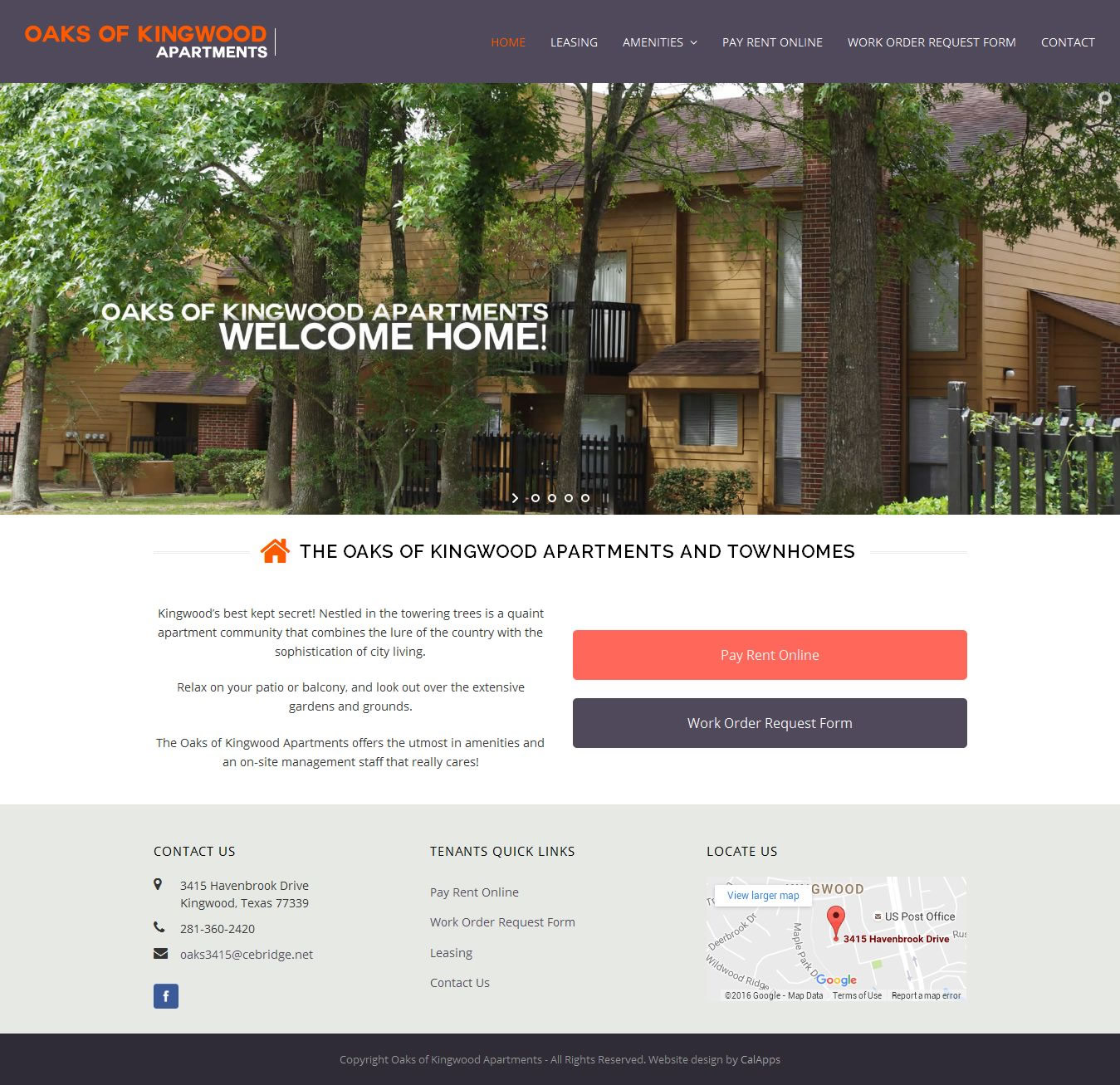 Oaks of kingwood apartments san francisco website design for Apartment web design