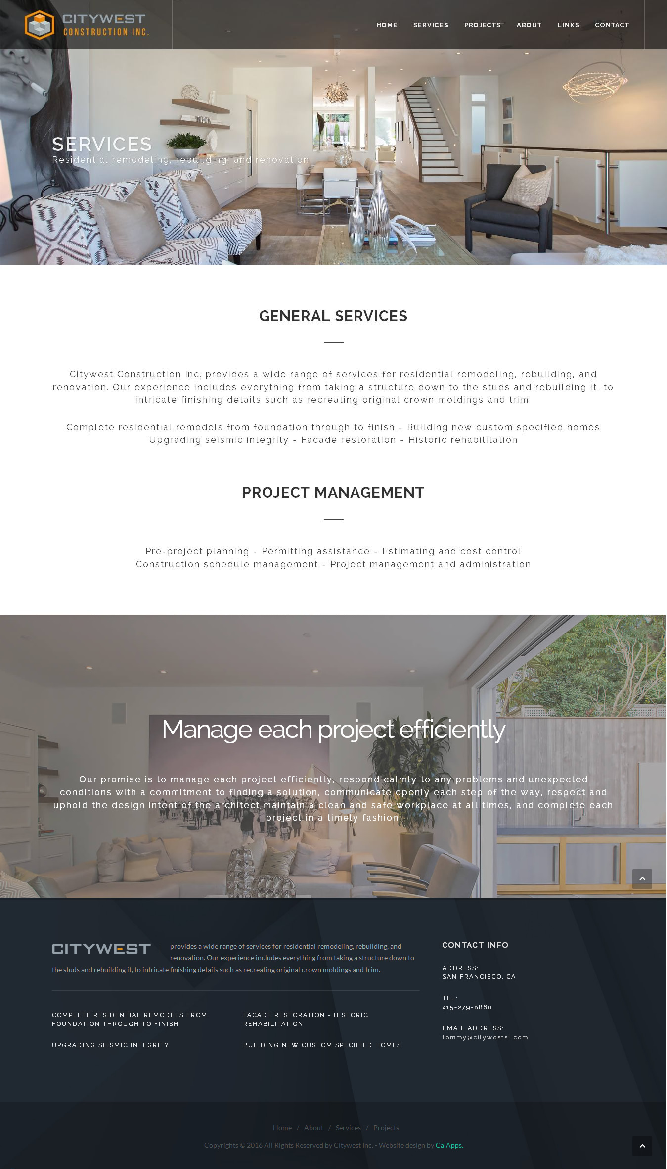 Citywest construction inc san francisco website design for Design companies in san francisco